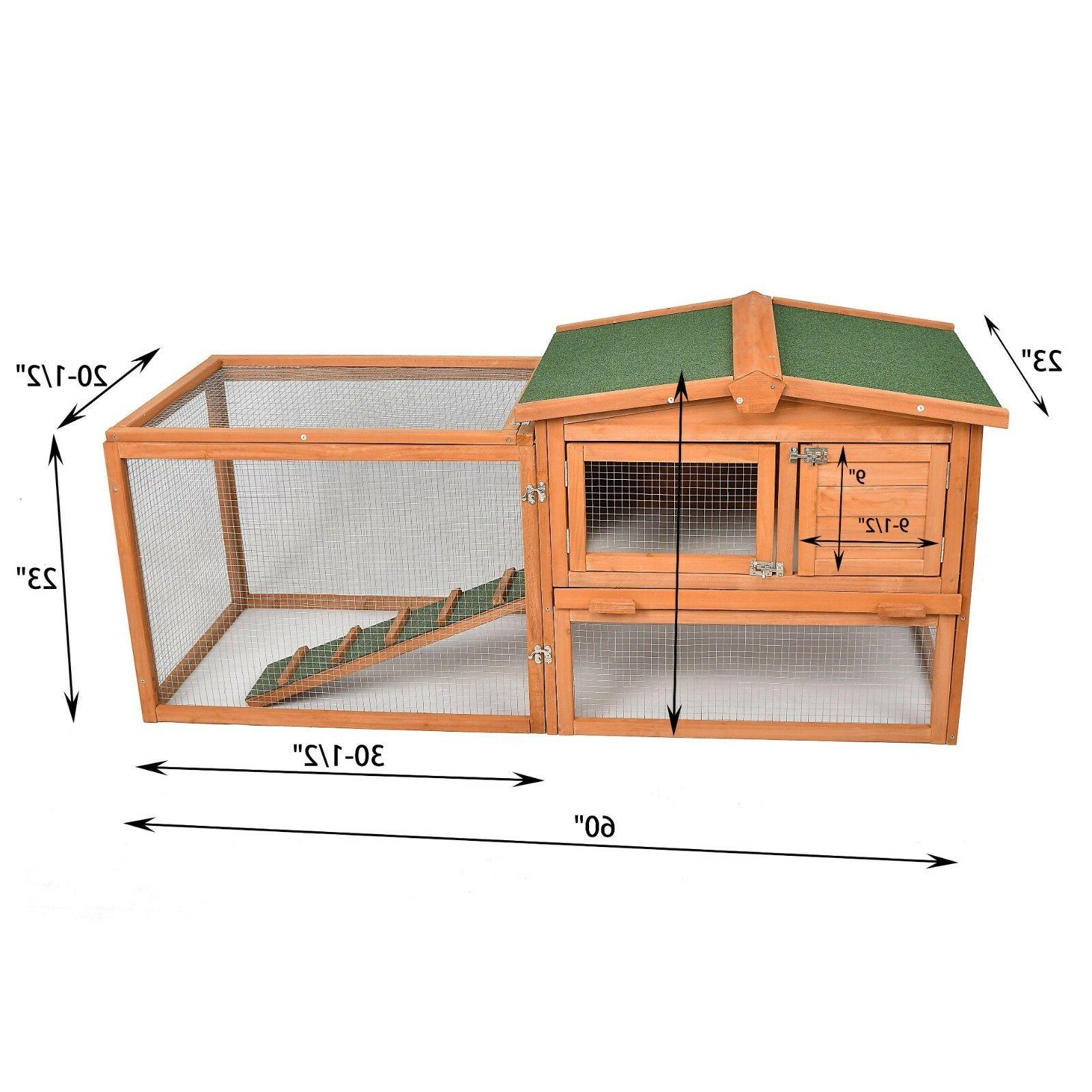 Wooden Coop Cage Outdoor Indoors W/ 80'