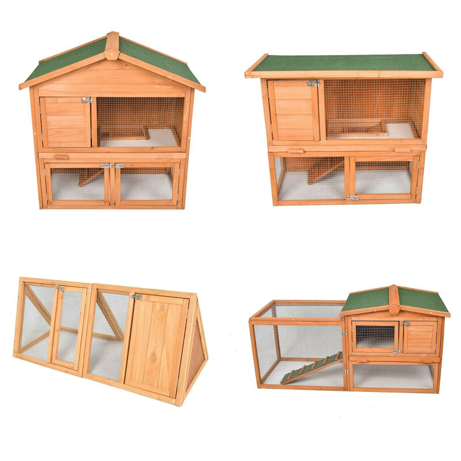 Wooden Coop Hutch Cage Outdoor Indoors W/ Run 80'