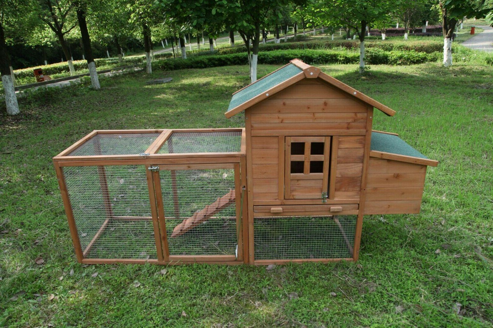 wooden chicken coop hutch cage pet house