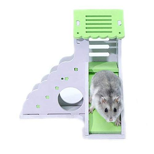 Kathson Wooden Hamster Hamster Hideout,Hamster Odorless Non-Toxic Two Wooden Hut