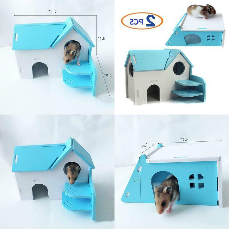 wooden hamster house hideout hut exercise natural