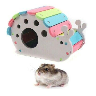 Colorful Wooden Hamster House Pet Small Animal Cage Exercise
