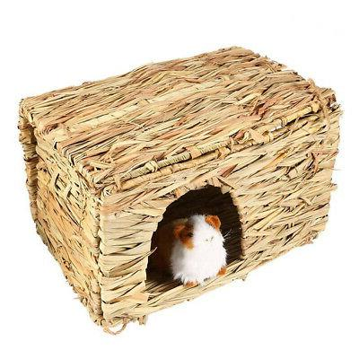 Woven Grass Small Pet Rabbit Hamster Cage Nest House Chew Toy Bed