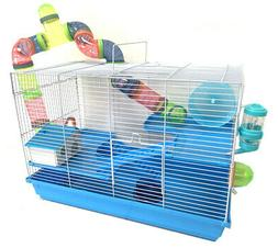 "Large 24"" 3-Levels Hamster Habitat Crossover Tube House Cage"