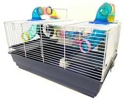 Large 3-Floor Dwarf Hamster Gerbil Habitat Mice Cage Long Cr
