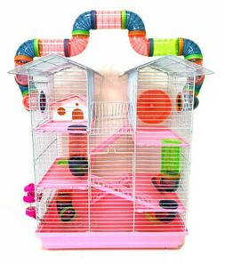 Large Pink 5-Level Twin Tower Hamster Habitat Rodent Gerbil