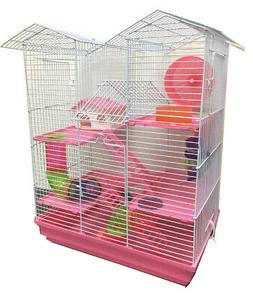 Large Pink Twin Tower Hamster Habitat Rodent Gerbil Mouse Mi