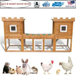 Large Wooden Rabbit Cage Hutch Chicken Coop House Pet Poultr
