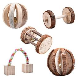 5Pcs Little Pets Natural Wooden Chew Toys Pine Dumbells Unic