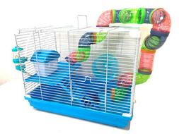 NEW Blue 2-Levels Hamster Habitat Rodent Gerbil Mouse Mice R