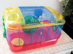 NEW Plastic Hamster or Rodent Habitat Cage - Complete with W
