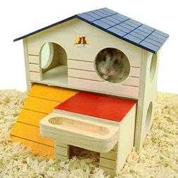 Pet Small Animal Hideout Hamster House Deluxe Two Layers Woo