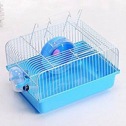 Pet Hamster Cage with Running Wheel Water Bottle Food Basin