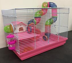 Pink 2 Floor Syrian Hamster Habitat Rodent Gerbil Mouse Mice
