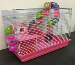 Pink 2-Levels Hamster Habitat Rodent Gerbil Mouse Mice Rats