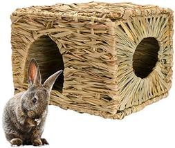 Mkono Natural Seagrass Mat Hideaway Hut Toy, Hand Woven Fold
