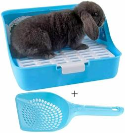 Small Pet Litter Box Corner Tray Pan with Grate for Potty Tr