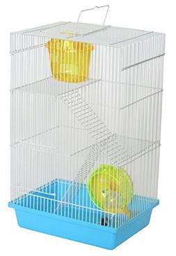 YML Triple Stories Dwarf Hamster Cage with Small Wheel/Dish