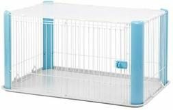 IRIS Large Wire Dog Crate with Mesh Roof, Blue