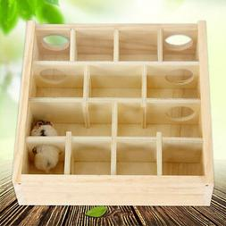 Wood Hamster Maze Toy With Glass Cover Hut House Cage Playgr