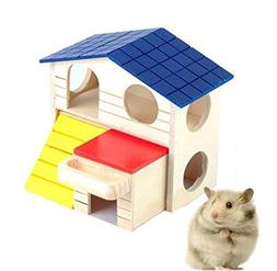 URToys Natural Wooden Foldable Two Layers Hedgehog House Ham