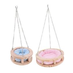 Wooden Hammock Toy Round Bed Cage Small Pet Hanging Nest Bit