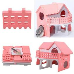 Wooden Hamster House Cage Accessories Degu Rat Rodents Rabbi
