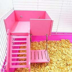 Wooden Platform,Swing and Ladder Set for Mouse, Chinchilla