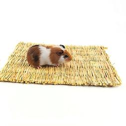 BWOGUE Natural Woven Grass Mat for Hamsters,Rabbits,Hedgehog